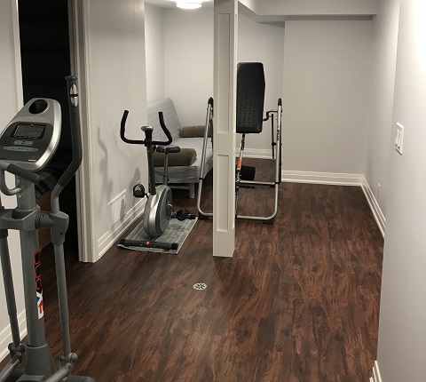 fitness gym in basement